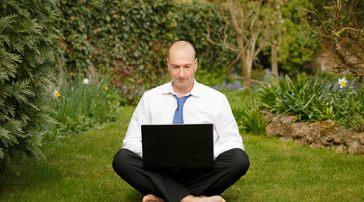 Businessman working outdoors